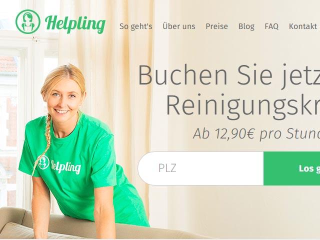 Naslovnica Helpling sajta