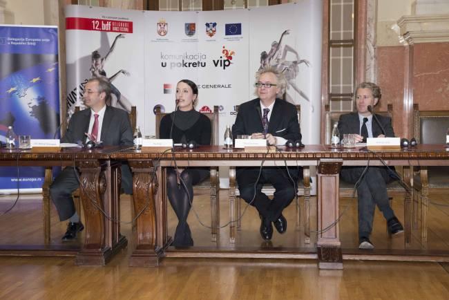 Najavna pres konferencija 12. BDF_Majkl Davenport. Aja Jung, Ivan Tasovac i Andreas Graf