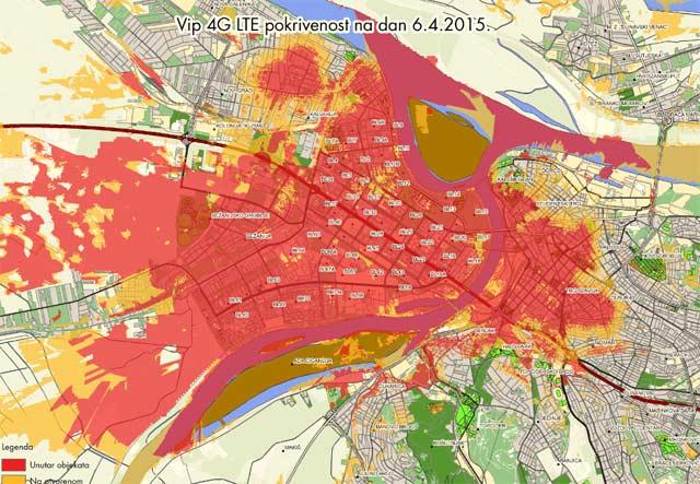 4G mapa pokrivenosti Beograd
