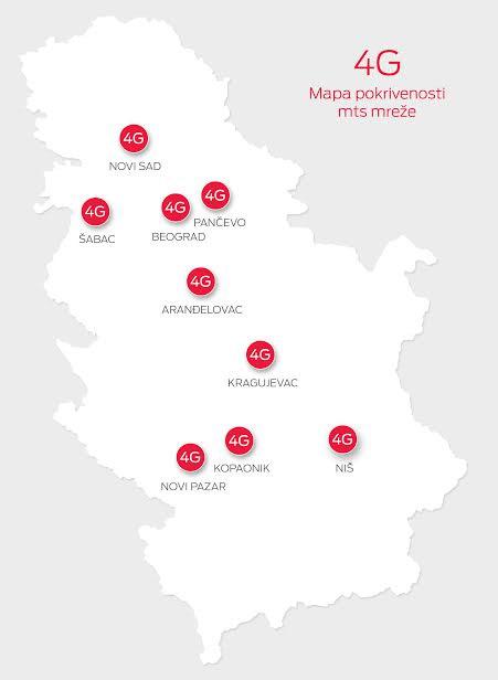 Telekom Srbija 4G mapa pokrivenosti signalom