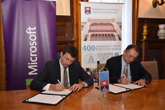Danas je u Rektoratu Univerziteta u Beogradu potpisan Memorandum o razumevanju između Univerziteta u Beogradu i kompanije Microsoft u Srbiji.